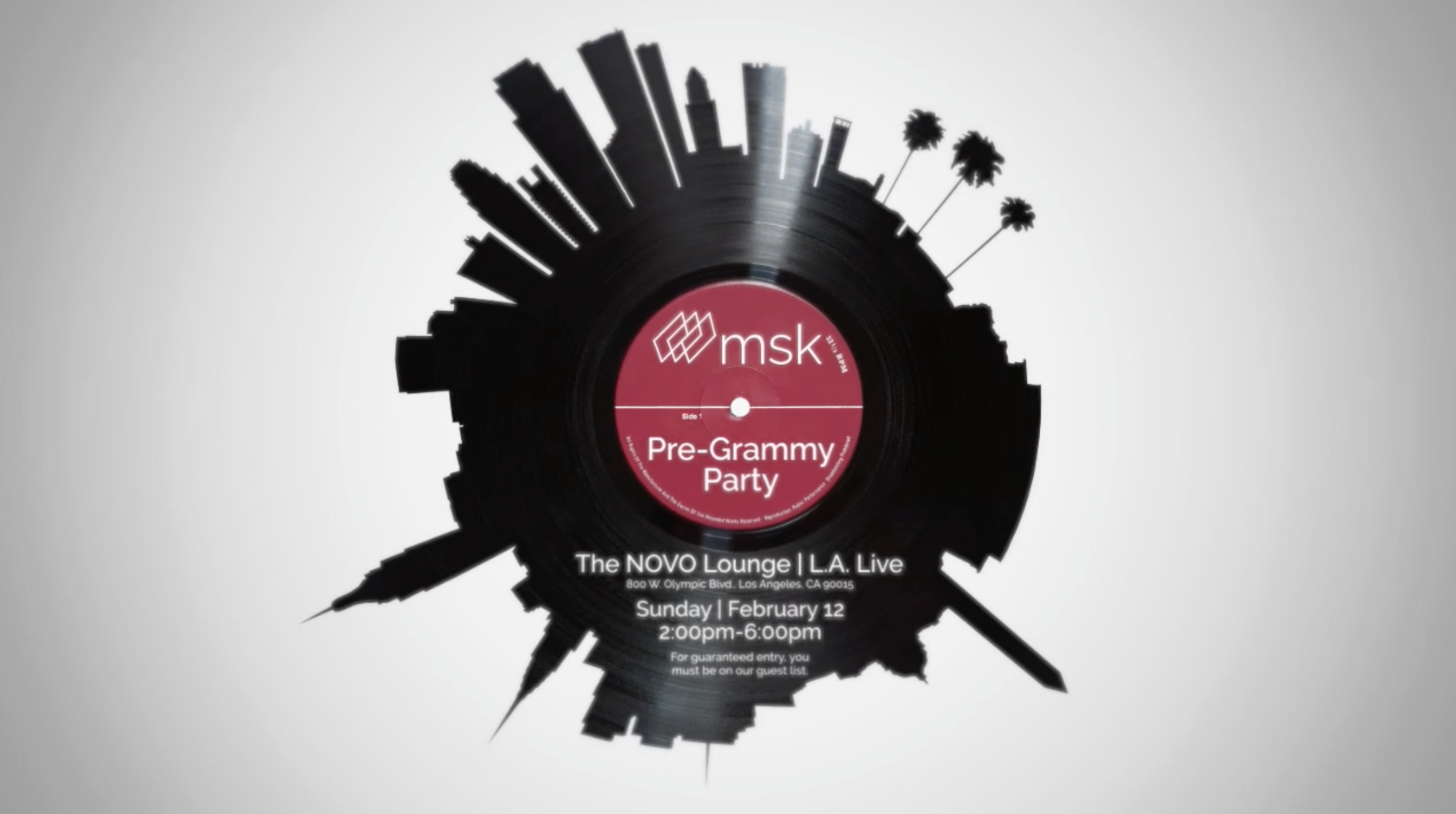 2017 MSK Pre-Grammy Party Invitation